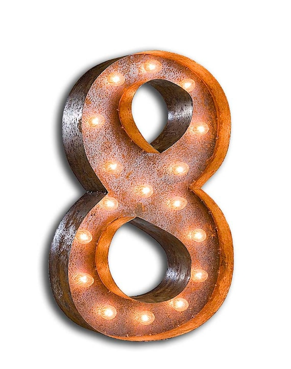 """Marquee Light Number 8 - RUSTY - 24"""" Vintage Marquee Lights-The Original!"""