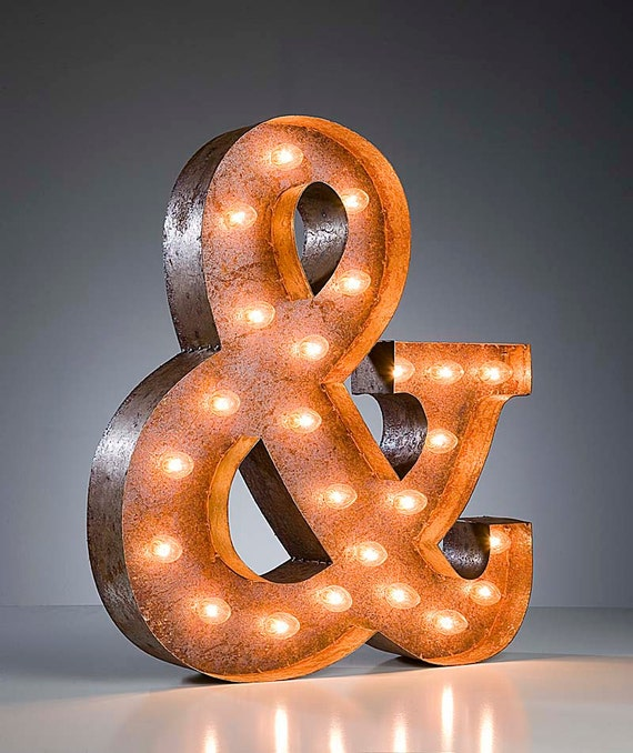 FREE SHIPPING Vintage Marquee Lights - Ampersand & sign