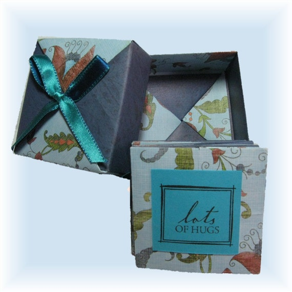 Mini Scrapbook in a Box, Accordian folded Booklet with Tea Packets, Home and Living, Photo book, Artsy