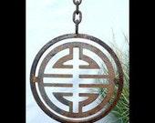 Metal Garden Art -Tibetan Symbol Pendant
