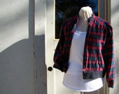Up-cycled plaid flannel jacket - size med/large