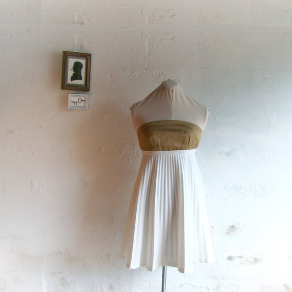 Handmade up-cycled strapless gold and white pleats party dress size 8