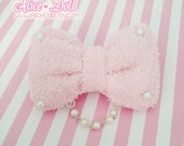 Fairy Kei Sweet Lolita Pastel Light Pink Terry Soft White Pearl Hair Bow Clip with Chain