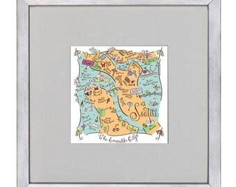 Seattle City Map Art Print