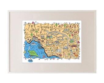 Los Angeles Metro Map Art Print