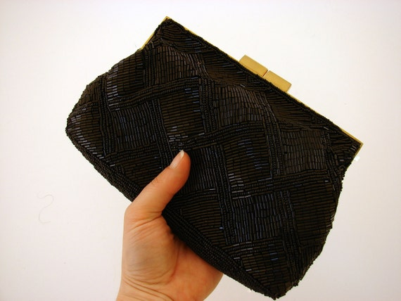 Black Beaded Purse Vintage Sixties Marshall Fields