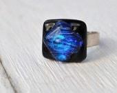 Ring Fused glass cobalt blue hand made unique design