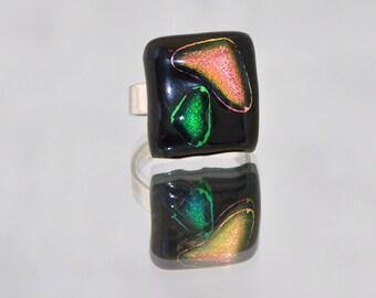 Modern design fused glass designer ring