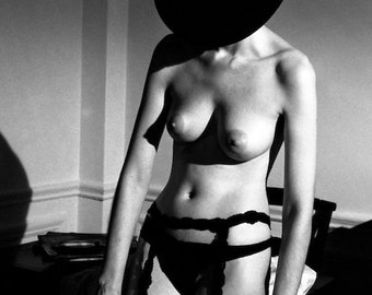 Nude in Hat Black and White