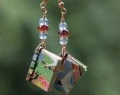 Miniature Book Earrings - Red and Blue - Japanese Binding