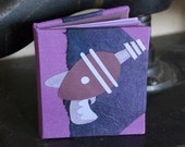 Raygun Notebook in Purple - handbound, hand-decorated blank mini notebook - with a raygun