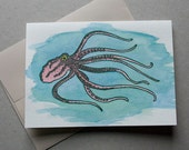 Octopus Hand-Printed Hand-Painted Letterpress and Watercolor Greeting Card