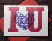 I heart U Letterpress Greeting Card Handprinted From Vintage Wood Type