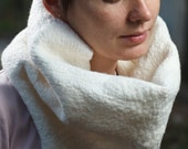 White chunky woolen scarf  - nuno felted textured, warm, for woman