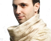 Beige Woolen Cobweb Scarf for Man,  felted textured, warm