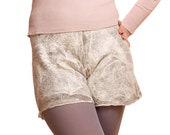 Organic Wool  Casual Shorts for woman, nuno felted textured, warm