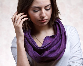 Violet  Unisex woolen scarf Infinity - long, nuno felted textured, warm, amethyst, for woman