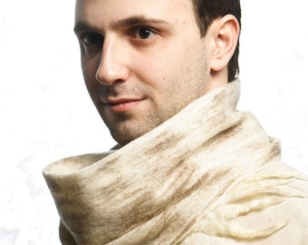 Beige Woolen Cobweb Scarf for Man,  felted textured, warm