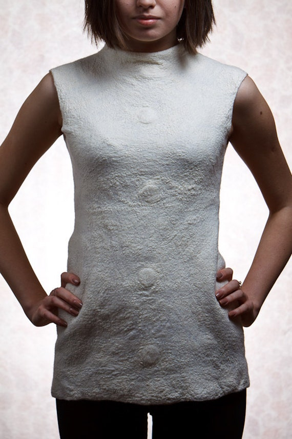 White nuno felted blouse, two sided, textured