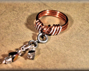 Adjustable-Twisted Copper coated alluminum-Knot-Ring-With Interchangable Gems