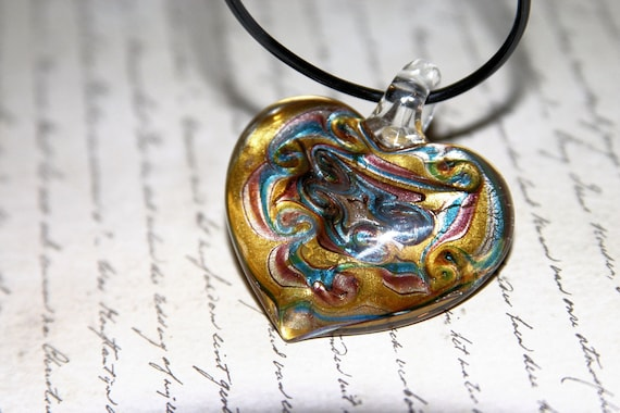 GLASS HEART PENDANT---Black Rubbber Tubing Necklace with Silver Lobster Claw---