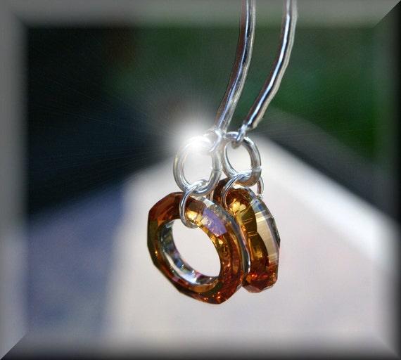 Sterling-Silver-Dangle-Clear-Amber-Swarovski-Earings
