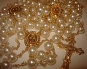 Handmade Gold & Cream Swarovski Pearl Wedding Lasso (Lazo) Rosary