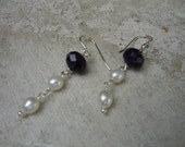 Amethyst and White Pearl Sterling Silver Earrings