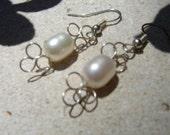 White Pearl and Sterling Silver Loop Earrings