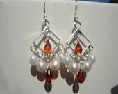 Hessonite Garnet and Pearl Chandelier Sterling Silver Earrings