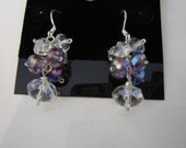 Sterling Silver Fire Polished Purple and Clear Crystal Cluster Earrings