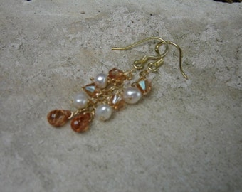 Topaz and White Pearl Gold Earrings
