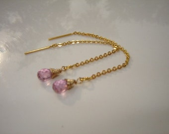 Pink Sapphire and Gold Dangle Earrings