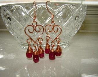 Copper Ruby-Berry Earrings