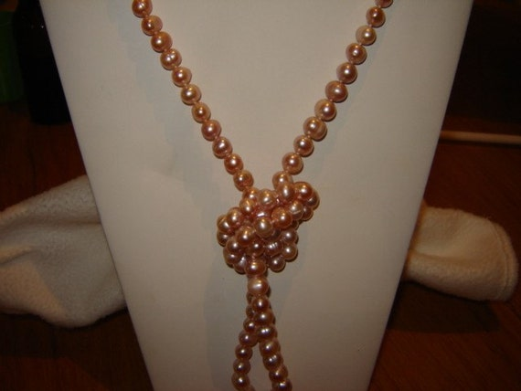 Hand Knotted Peach Pearl Strand - 42 inches long
