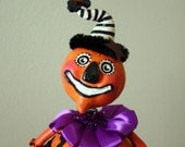 Halloween Pumpkin Folk Art Doll Collectible - Prudence Pumpkinhead