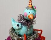 Blue Bird Folk Art Sculpted Trinket Box