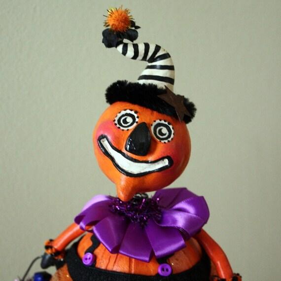 Halloween Pumpkin Folk Art Doll Collectible - Prudence Pumpkinhead