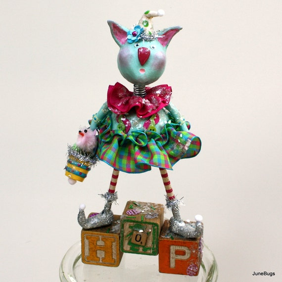 BlueBell Bunnykins - Whimsical Easter Bunny Paperclay Collectible Art Doll