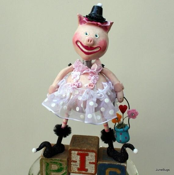 Whimsical Folk Art Pink Pig Collectible - Priscilla Piggy