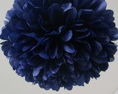 Navy Tissue Paper Pom Poms- Wedding, Birthday, Bridal Shower, Party Decorations