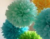 Summer Breeze .. 5 Tissue Pom Poms .. Wedding / Reception / Bridal Shower / Birthday / Decoration