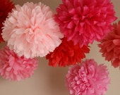 Pink Berry .. Party Pom Decor for Birthdays / Weddings / Showers / Baptism .. set of 7 Pom Poms