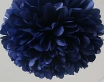 Navy Tissue Paper Pom Poms- Wedding, Birthday, Bridal Shower, Party Decorations