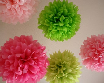 Girl Fun .. 5 Tissue Paper Poms for Birthday Party Decor / Wedding Decor / Nursery