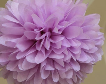 Lilac Tissue Paper Poms .. Weddings / Bridal Shower / Anniversary / Birthday / Party Decoration / DIY