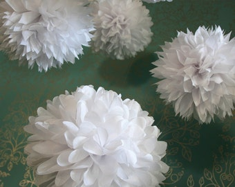 Wedding White .. 20 Tissue Poms ..Wedding and Party Decoration