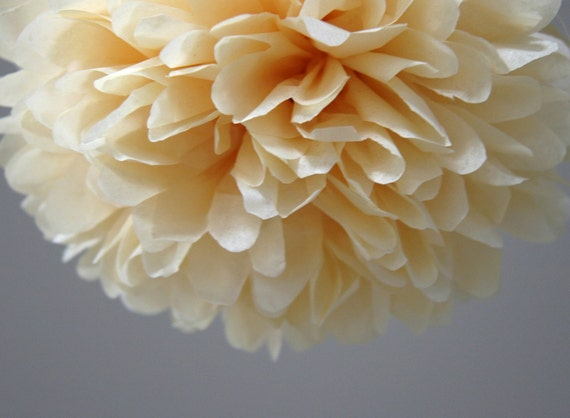 Butterscotch Tissue Paper Pom Poms- Wedding, Birthday, Nursery Decor, Party Decorations