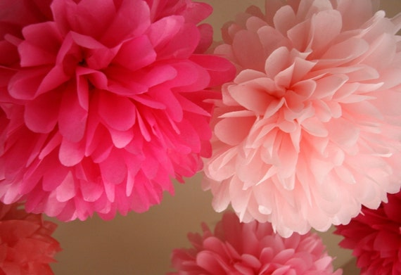 Custom Colors .. 10 Party Poms / Birthday Decor / Baby Shower / Bridal Shower / Weddings / Ceremony / Party Decoration