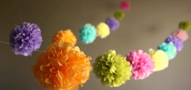 Custom colors diy party poms garland nursery decor for Pom pom room decor